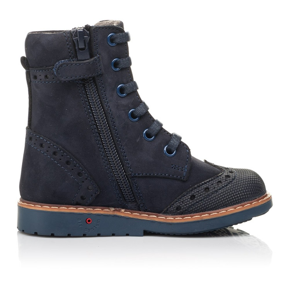 Детские демисезонные ботинки Woopy Orthopedic темно-синие для девочек натуральный нубук размер 21-25 (4417) Фото 5