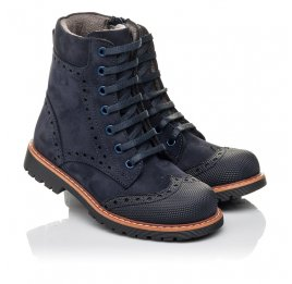 Детские демисезонные ботинки Woopy Fashion темно-синие для девочек натуральный нубук размер 26-29 (4418) Фото 1