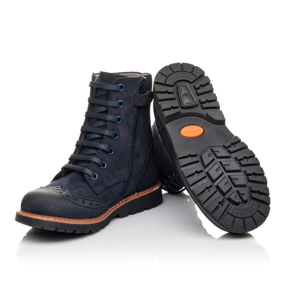 Детские демисезонные ботинки Woopy Fashion темно-синие для девочек натуральный нубук размер 26-33 (4418) Фото 2