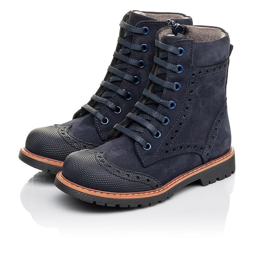 Детские демисезонные ботинки Woopy Fashion темно-синие для девочек натуральный нубук размер 26-33 (4418) Фото 3