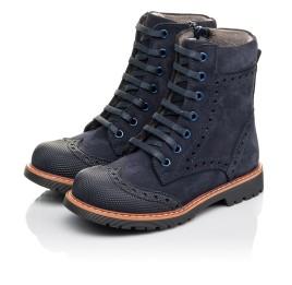 Детские демисезонные ботинки Woopy Fashion темно-синие для девочек натуральный нубук размер 26-31 (4418) Фото 3