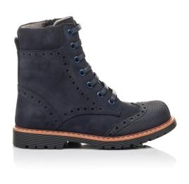 Детские демисезонные ботинки Woopy Fashion темно-синие для девочек натуральный нубук размер 26-30 (4418) Фото 4