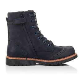 Детские демисезонные ботинки Woopy Fashion темно-синие для девочек натуральный нубук размер 26-31 (4418) Фото 5