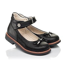 Детские туфлі Woopy Orthopedic черные для девочек натуральная кожа и нубук размер 30-35 (4420) Фото 1