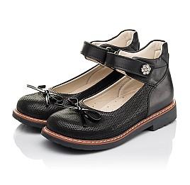 Детские туфлі Woopy Orthopedic черные для девочек натуральная кожа и нубук размер 30-35 (4420) Фото 3