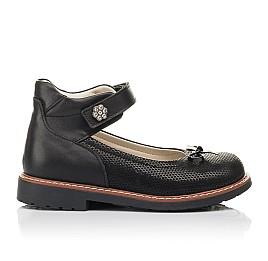 Детские туфлі Woopy Orthopedic черные для девочек натуральная кожа и нубук размер 30-35 (4420) Фото 4