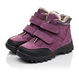 Детские зимние ботинки на меху Woopy Fashion фиолетовые для девочек натуральный нубук размер 26-31 (4421) Фото 3