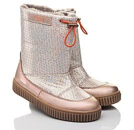 Детские зимние сапоги на меху Woopy Fashion золотые для девочек натуральная кожа размер 26-36 (4423) Фото 1