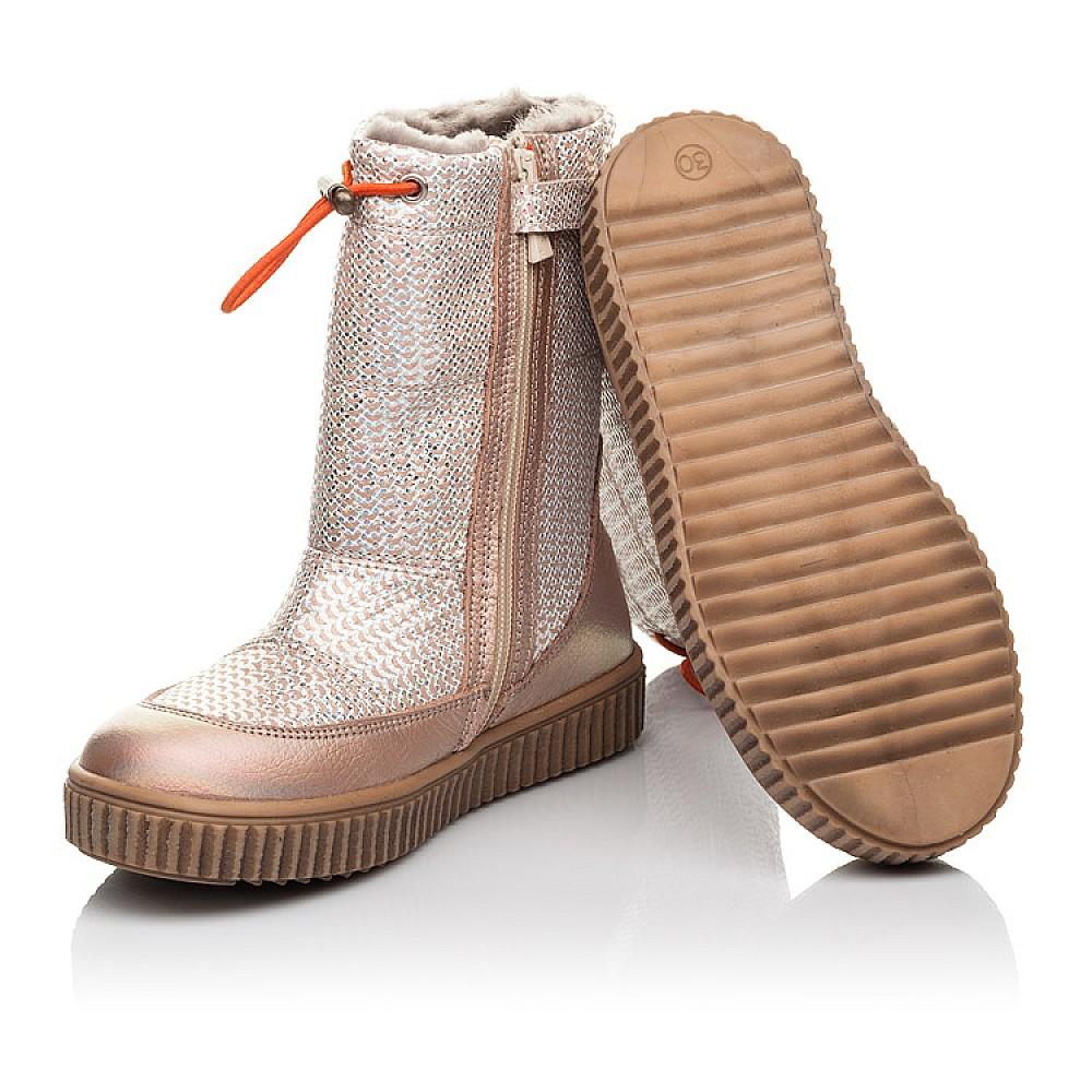 Детские зимние сапоги на меху Woopy Fashion золотые для девочек натуральная кожа размер 26-36 (4423) Фото 2