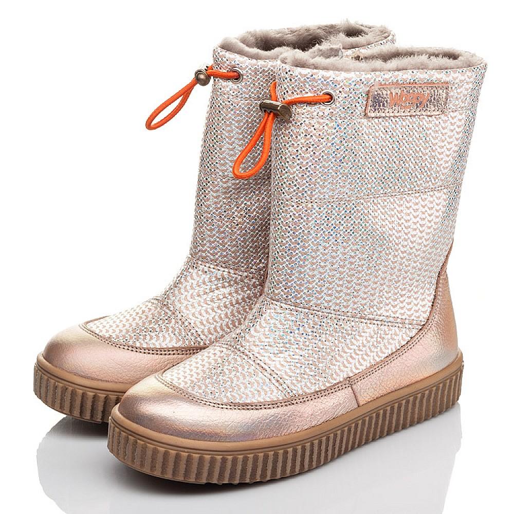 Детские зимние сапоги на меху Woopy Fashion золотые для девочек натуральная кожа размер 26-36 (4423) Фото 3