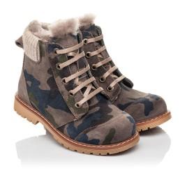 Детские зимние ботинки на меху Woopy Fashion разноцветные для мальчиков натуральный нубук размер 21-32 (4428) Фото 1