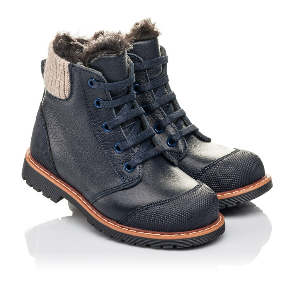 Детские зимние ботинки на меху Woopy Fashion синие для мальчиков натуральная кожа размер 21-36 (4430) Фото 1