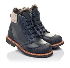 Детские зимние ботинки на меху Woopy Fashion синие для мальчиков натуральная кожа размер 21-31 (4430) Фото 1