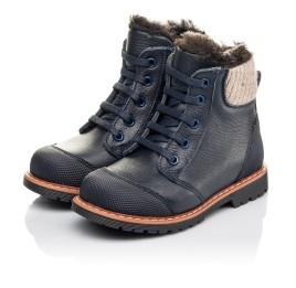 Детские зимние ботинки на меху Woopy Fashion синие для мальчиков натуральная кожа размер 21-31 (4430) Фото 3