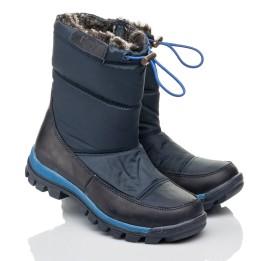 Детские зимние ботинки на меху Woopy Fashion синие для мальчиков искуственный материал и натуральный нубук размер 30-39 (4432) Фото 1