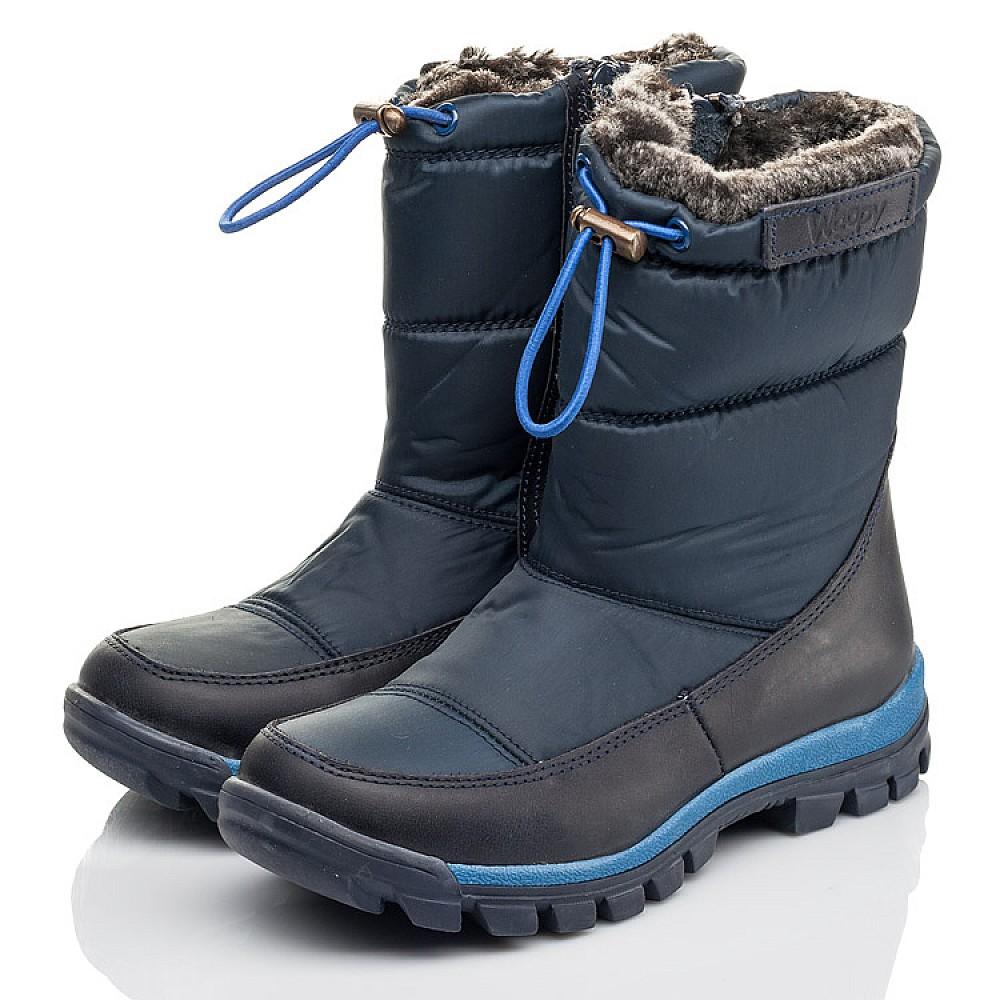 Детские зимние ботинки на меху Woopy Fashion синие для мальчиков искуственный материал и натуральный нубук размер 30-39 (4432) Фото 3