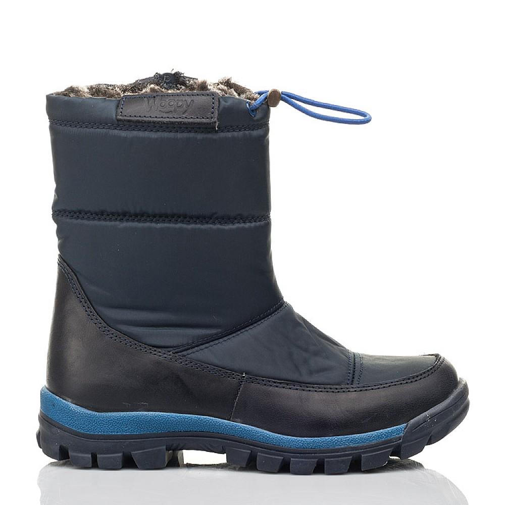 Детские зимние ботинки на меху Woopy Fashion синие для мальчиков искуственный материал и натуральный нубук размер 30-39 (4432) Фото 4