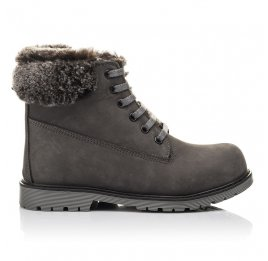 Детские зимние ботинки на меху Woopy Fashion серые для мальчиков натуральный нубук размер 30-32 (4433) Фото 4