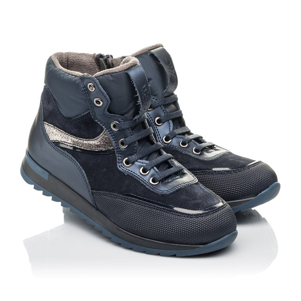 Детские демисезонные ботинки Woopy Fashion синие для мальчиков натуральная кожа и нубук размер 30-38 (4435) Фото 1