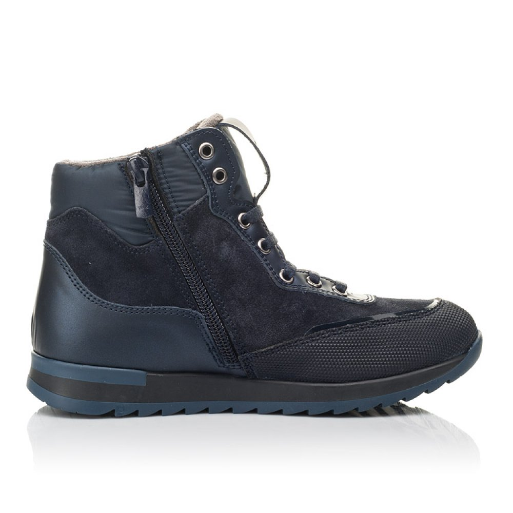 Детские демисезонные ботинки Woopy Fashion синие для мальчиков натуральная кожа и нубук размер 30-38 (4435) Фото 5