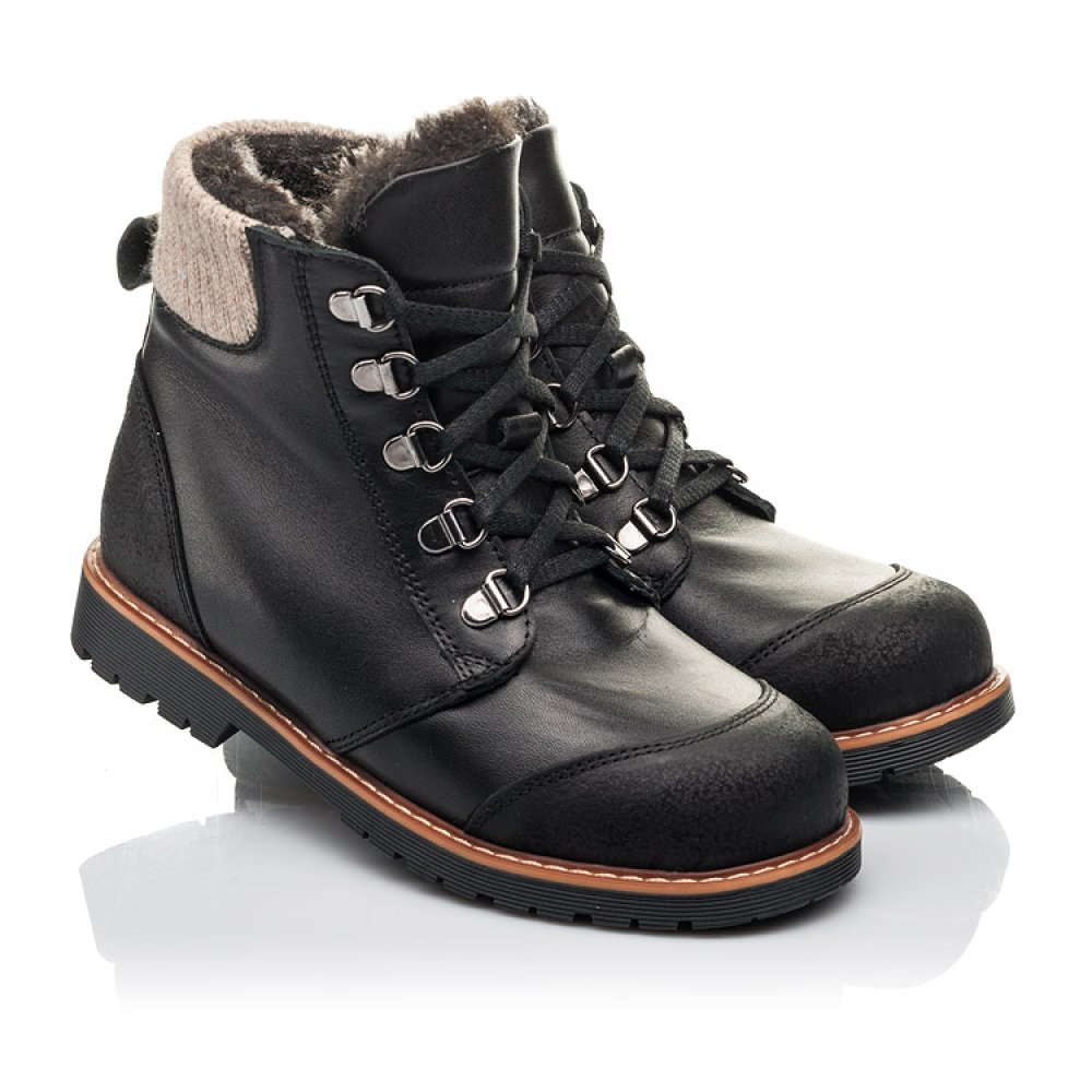 Детские зимние ботинки Woopy Orthopedic черные для мальчиков натуральная кожа размер 33-40 (4437) Фото 1