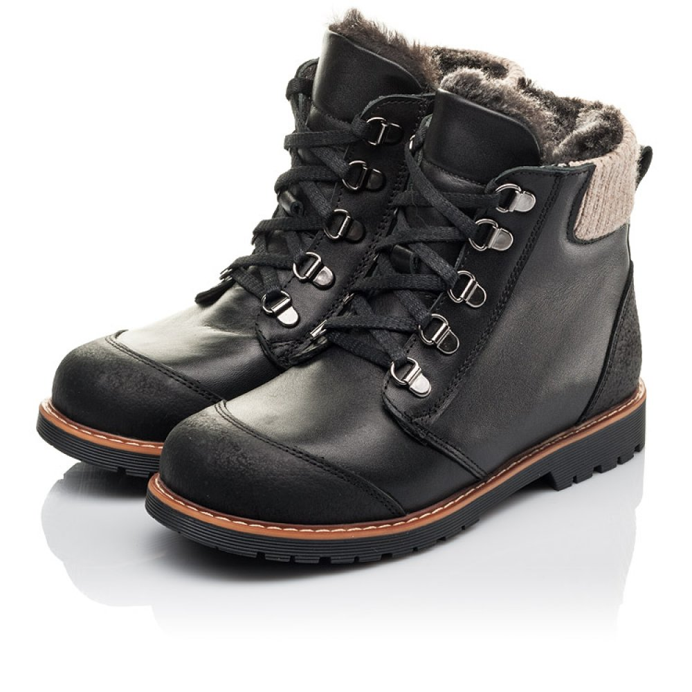 Детские зимние ботинки Woopy Orthopedic черные для мальчиков натуральная кожа размер 33-40 (4437) Фото 3