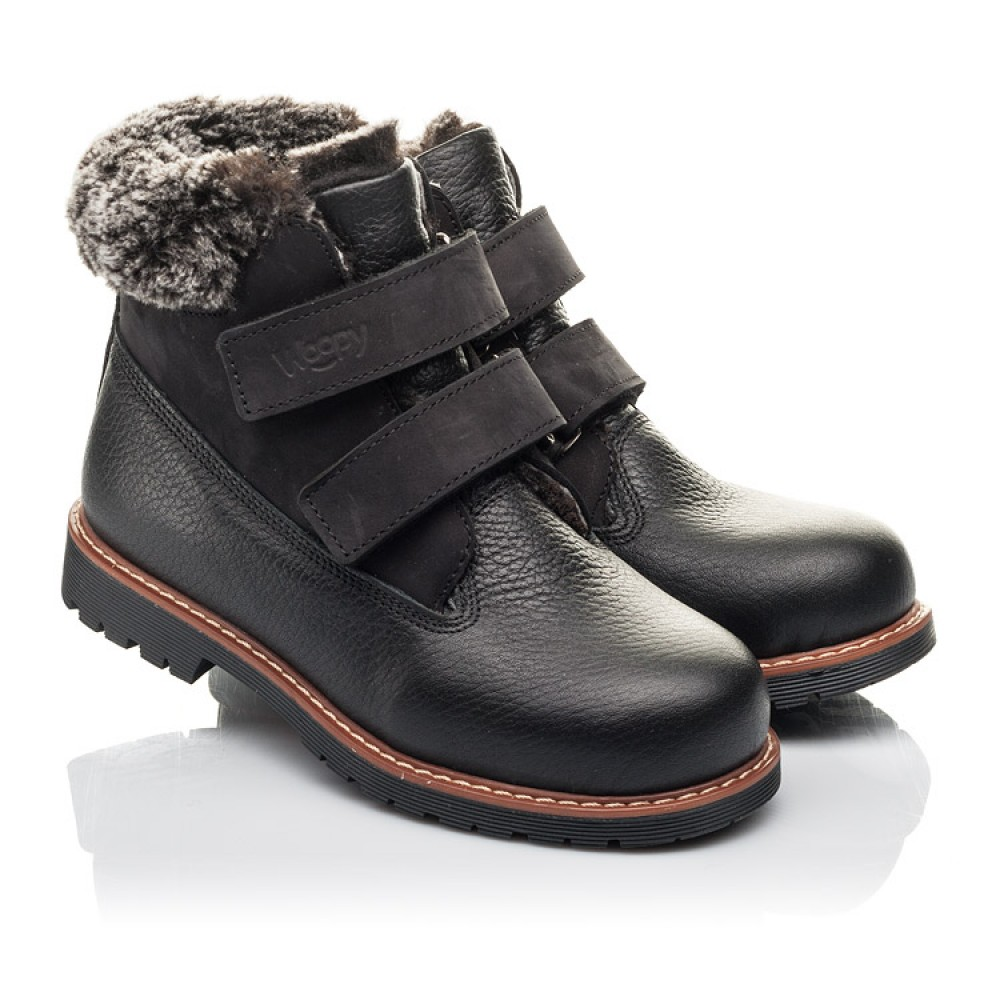 Детские зимние ботинки Woopy Fashion черные для мальчиков натуральная кожа размер 27-40 (4438) Фото 1