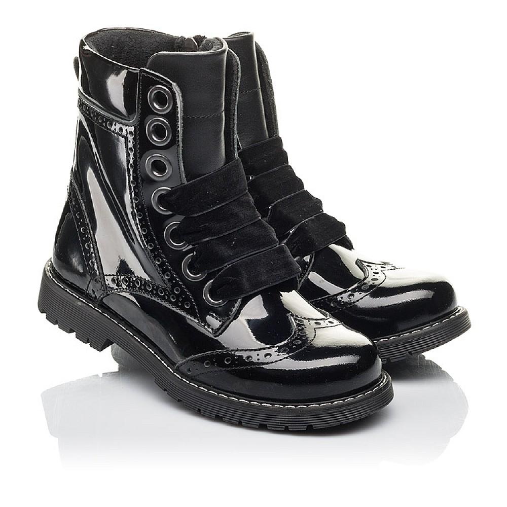 Детские демисезонные ботинки Woopy Fashion черные для девочек натуральная лаковая кожа размер 29-38 (4441) Фото 1