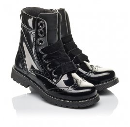 Детские демісезонні черевики Woopy Fashion черные для девочек натуральная лаковая кожа размер 29-38 (4441) Фото 1