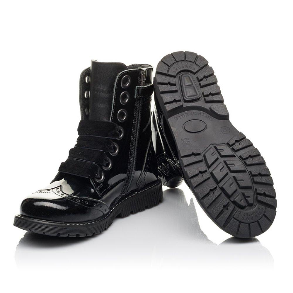 Детские демисезонные ботинки Woopy Fashion черные для девочек натуральная лаковая кожа размер 29-38 (4441) Фото 2