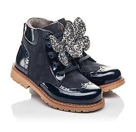 Детские демісезонні черевики Woopy Fashion синие для девочек лаковая кожа, нубук размер 21-32 (4442) Фото 1