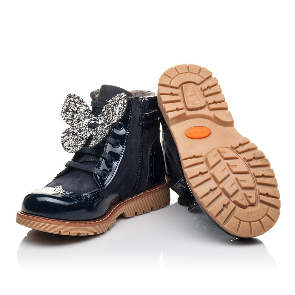 Детские демисезонные ботинки Woopy Fashion синие для девочек лаковая кожа, нубук размер 21-33 (4442) Фото 2