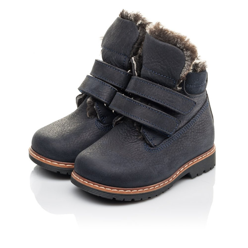 Детские зимние ботинки Woopy Fashion синие для мальчиков натуральный нубук размер 20-30 (4445) Фото 3