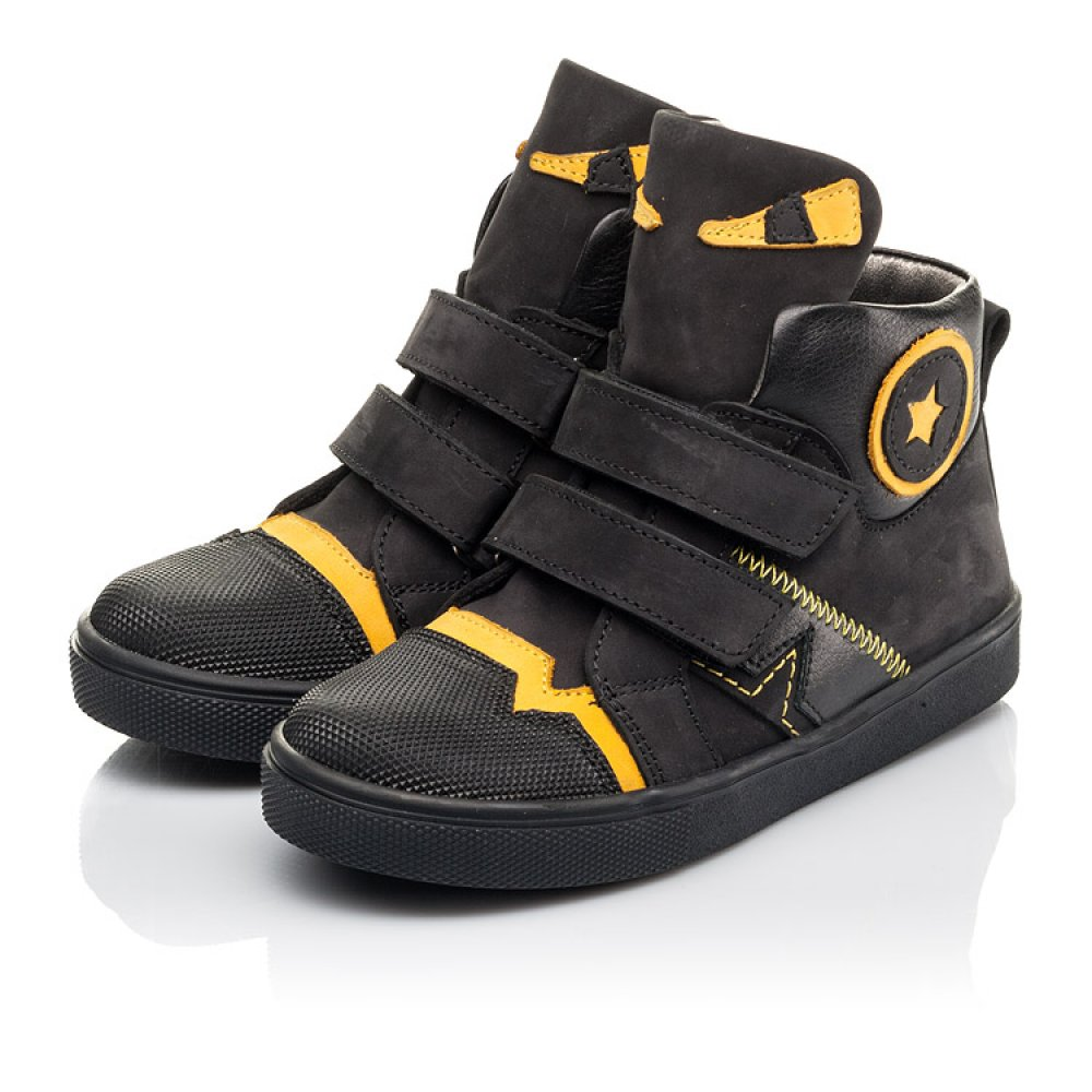 Детские демисезонные ботинки Woopy Fashion черные для мальчиков натуральный нубук размер 22-38 (4447) Фото 3
