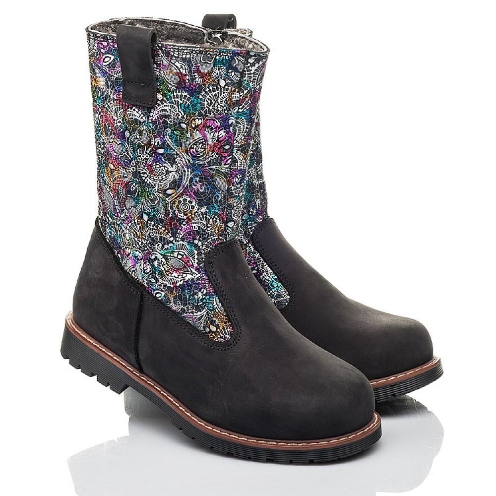 Детские зимние сапоги на меху Woopy Fashion черные для девочек натуральный нубук размер 32-38 (4448) Фото 1
