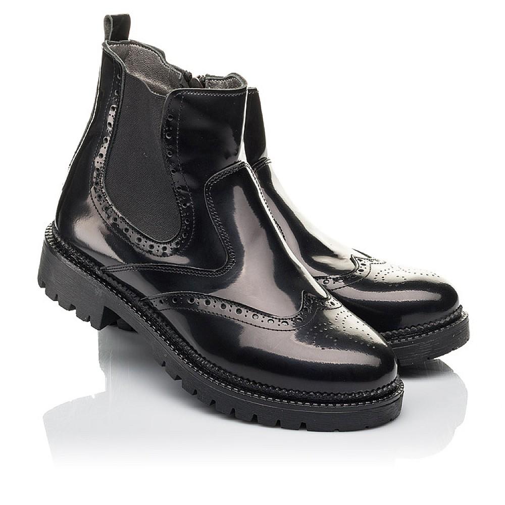 Детские демисезонные ботинки Woopy Fashion черные для девочек натуральная лаковая кожа размер 36-39 (4453) Фото 1