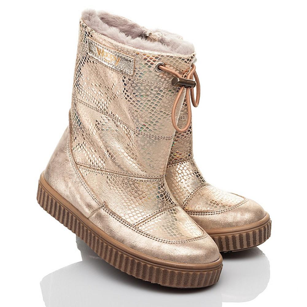 Детские зимние сапоги на меху Woopy Fashion золотые для девочек натуральная кожа размер 26-30 (4454) Фото 1