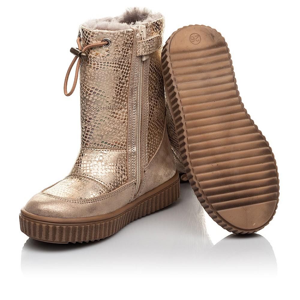 Детские зимние сапоги на меху Woopy Fashion золотые для девочек натуральная кожа размер 26-30 (4454) Фото 2