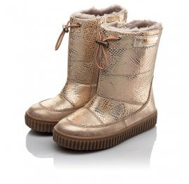 Детские зимние сапоги на меху Woopy Fashion золотые для девочек натуральная кожа размер 26-27 (4454) Фото 3