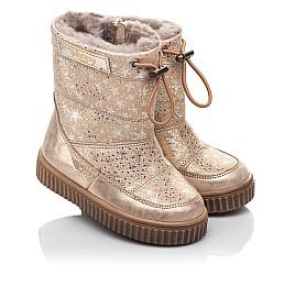Детские зимние сапоги на меху Woopy Fashion золотые для девочек натуральная кожа размер 23-25 (4455) Фото 1