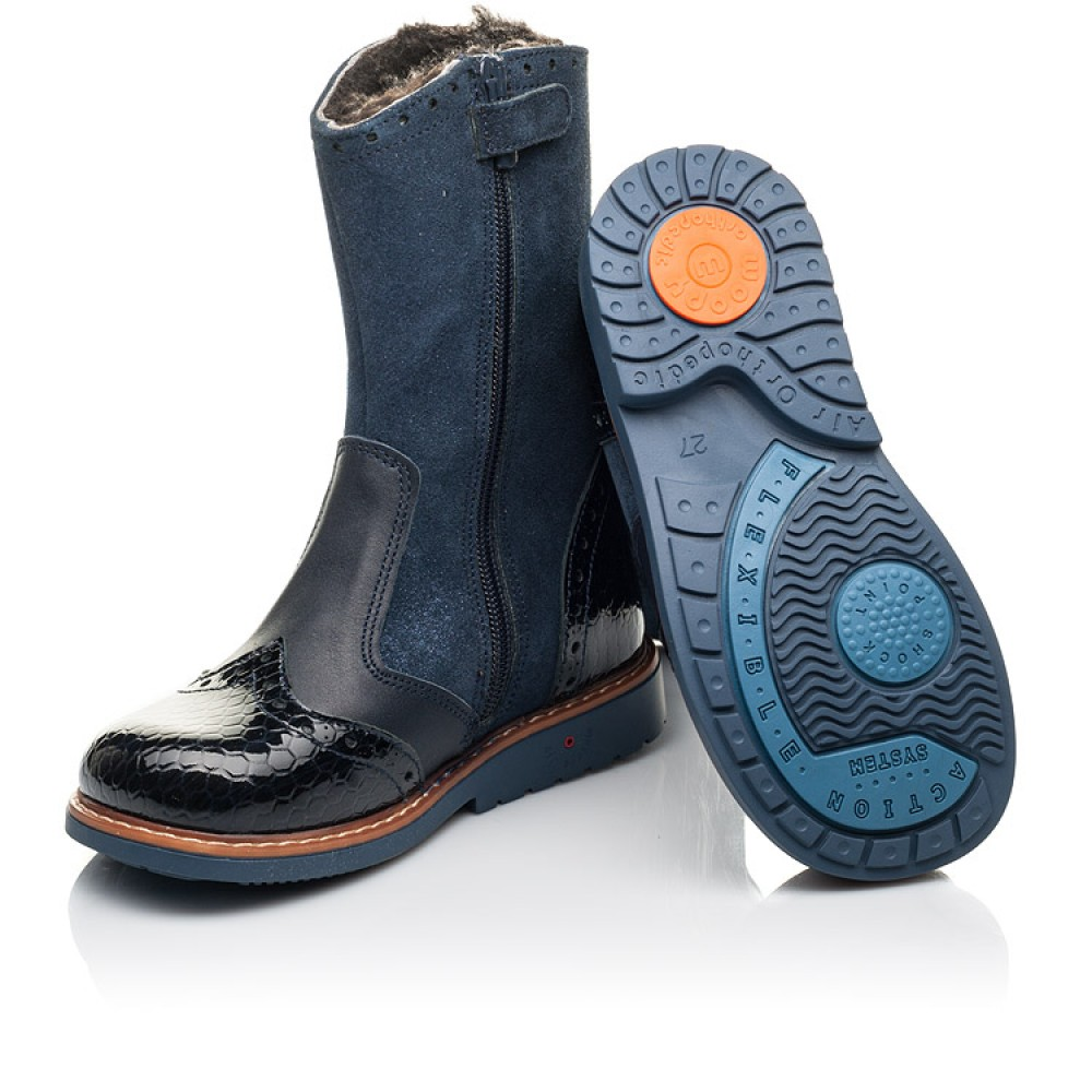 Детские зимние сапоги на меху Woopy Orthopedic синие для девочек натуральные нубук и лаковая кожа размер 25-31 (4459) Фото 2
