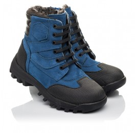 Детские зимние ботинки на меху Woopy Fashion синие для мальчиков натуральный нубук размер 23-30 (4461) Фото 1