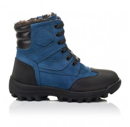 Детские зимние ботинки на меху Woopy Fashion синие для мальчиков натуральный нубук размер 23-30 (4461) Фото 4