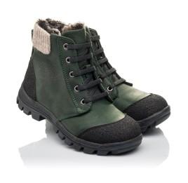 Детские зимние ботинки на меху Woopy Fashion зеленые для мальчиков натуральный нубук OIL размер 26-30 (4462) Фото 1