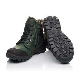 Детские зимние ботинки на меху Woopy Fashion зеленые для мальчиков натуральный нубук OIL размер 26-30 (4462) Фото 2