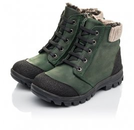 Детские зимние ботинки на меху Woopy Fashion зеленые для мальчиков натуральный нубук OIL размер 26-30 (4462) Фото 3
