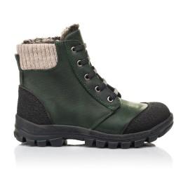 Детские зимние ботинки на меху Woopy Fashion зеленые для мальчиков натуральный нубук OIL размер 26-30 (4462) Фото 4