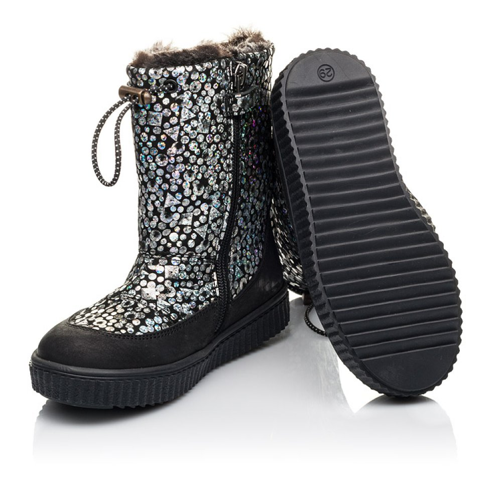 Детские зимние сапоги на меху Woopy Orthopedic черные для девочек натуральный нубук размер 23-39 (4465) Фото 2