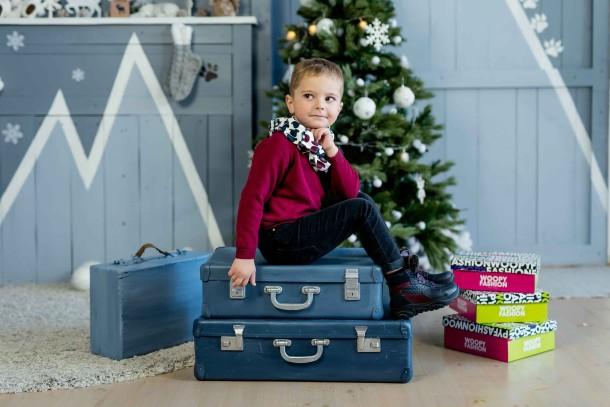 Мальчик обут в детские зимние ботинки на меху Woopy Orthopedic синие (4470) Фото 1