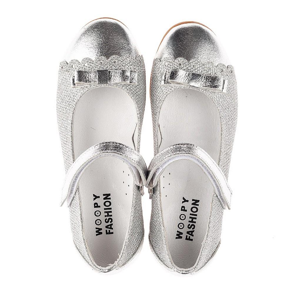 Детские туфли Woopy Orthopedic серебряные для девочек натуральная кожа, искусственный материал размер 31-36 (4473) Фото 5